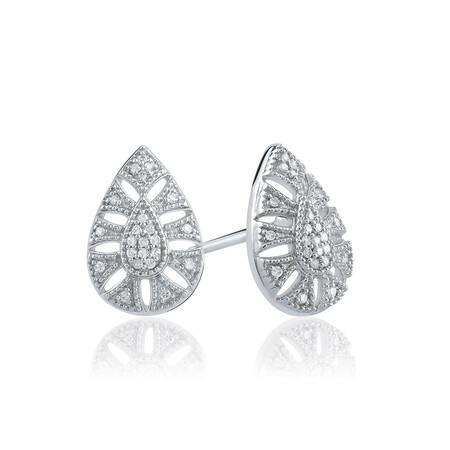 Art Deco Pear Stud Earrings With Diamonds In Sterling Silver