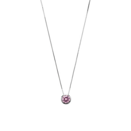 Circle Pendant with Pink Cubic Zirconia in Sterling Silver