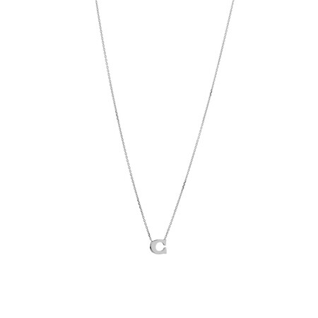 'C' Initial Necklace in Sterling Silver