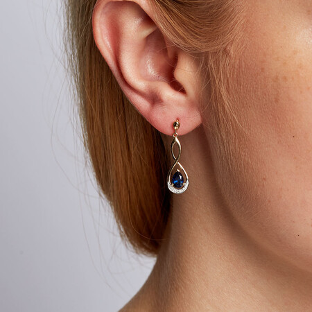 Drop Earrings with Created Sapphire & Diamonds in 10ct Yellow & White Gold