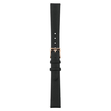 Small Watch Strap in Black Leather & Rose Tone Stainless Steel