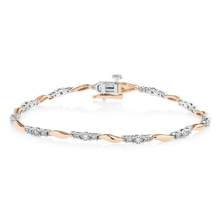 Swirl Link Bracelet with 0.20 TW of Diamonds in 10ct Rose Gold