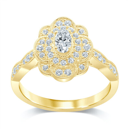 Flower Ring with 1/2 Carat TW of Diamonds in 14ct Yellow Gold