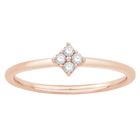 Stacker Ring with Diamonds in 10ct Rose Gold