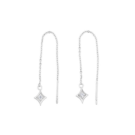 Diamond Shaped Threader Earrings with Cubic Zirconia in Sterling Silver