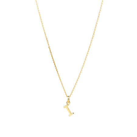"""""""I"""" Initial Pendant with Chain in 10ct Yellow Gold"""