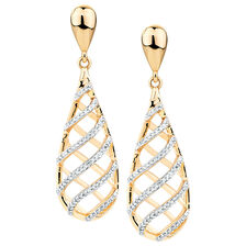 Drop Earrings with 0.32 Carat TW of Diamonds in 10ct Yellow Gold