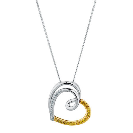Pendant with 0.20 Carat TW of Enhanced Yellow Diamonds in Sterling Silver