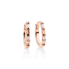 Mini Hoop Earrings with Diamonds in 10ct Rose Gold
