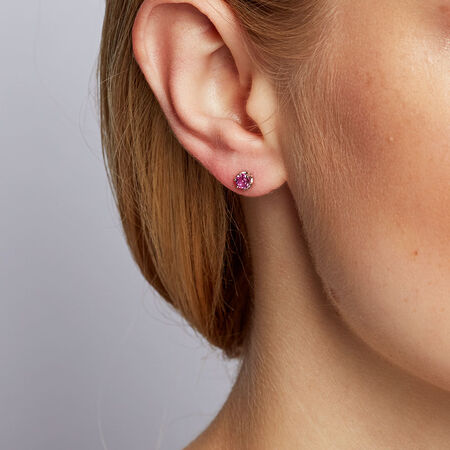 Stud Earrings with Created Pink Sapphires in 10ct White Gold