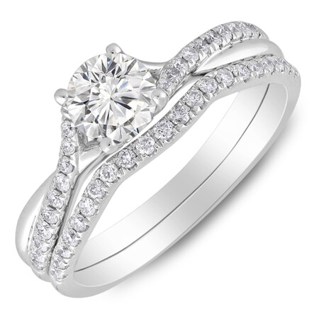Twist Bridal Set with 1.00 Carat TW of Diamonds in 14ct White Gold