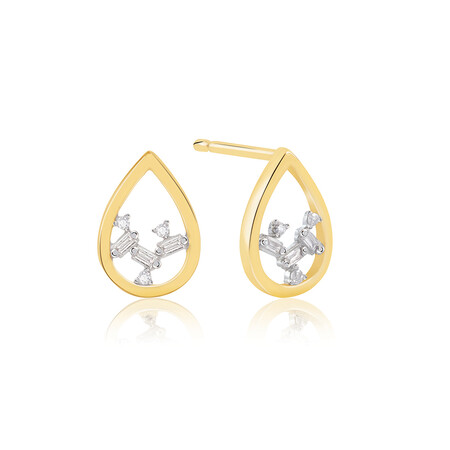 Pear Stud Earrings With Diamonds In 10ct Yellow Gold