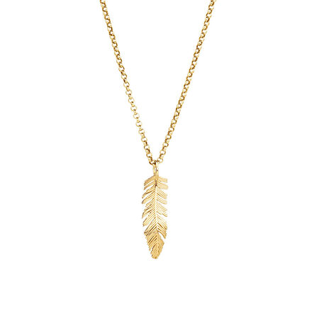 Feather Pendant in 10ct Yellow Gold