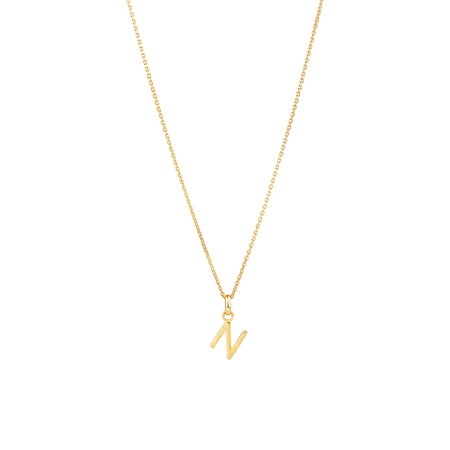 """""""N"""" Initial Pendant with Chain in 10ct Yellow Gold"""