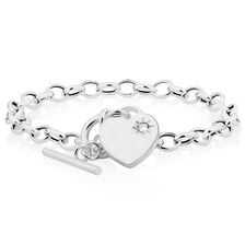 "19cm (7.5"") Belcher Bracelet with Cubic Zirconia in Sterling Silver"