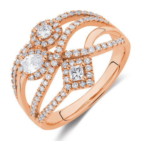 Ring with 3/4 Carat TW of Diamonds in 10ct Rose Gold