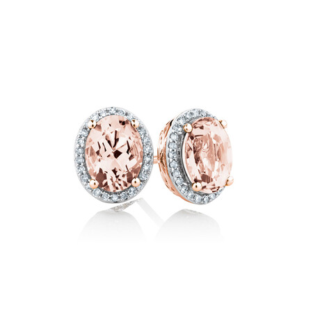 Stud Earrings with Created Peach Sapphire & 0.15 Carat TW of Diamonds in 10ct Rose Gold