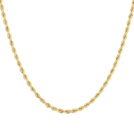 """55cm (22"""") Hollow Rope Chain in 10ct Yellow Gold"""