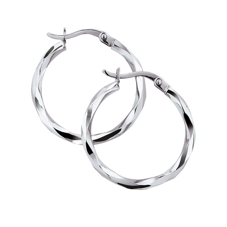 18mm Twist Hoop Earrings in 10ct White Gold