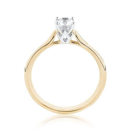 Southern Star Solitaire Engagement Ring with a 1/2 Carat TW Diamond in 14ct Yellow & White Gold