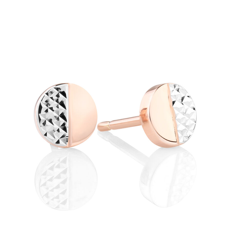 Circle Stud Earrings in 10ct White & Rose Gold