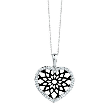 Heart Pendant with 0.20 Carat TW of Diamonds in 10ct White Gold