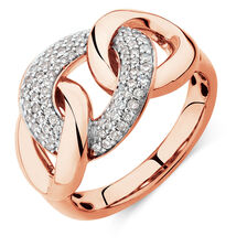 Link Ring with 1/3 Carat TW of Diamonds in 10ct Rose Gold