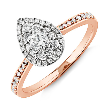 Evermore Halo Pear Engagement Ring with 0.45 Carat TW Diamonds in 10ct Rose & White Gold