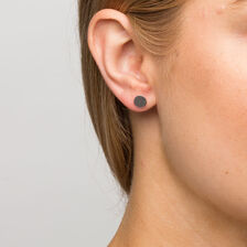 Circle Stud Earrings in Sterling Silver