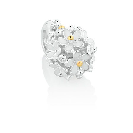 Daisy Dangle Charm with Cubic Zirconia & White Enamel in Sterling Silver & 10ct Yellow Gold | Tuggl