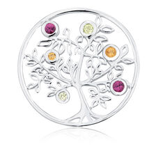 Citrine, Peridot, Rhodolite & Sterling Silver Tree Coin Locket Insert