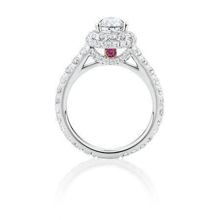 Michael Hill Designer GrandAllegro Engagement Ring with 2.08 Carat TW of Diamonds in 14ct White & Rose Gold
