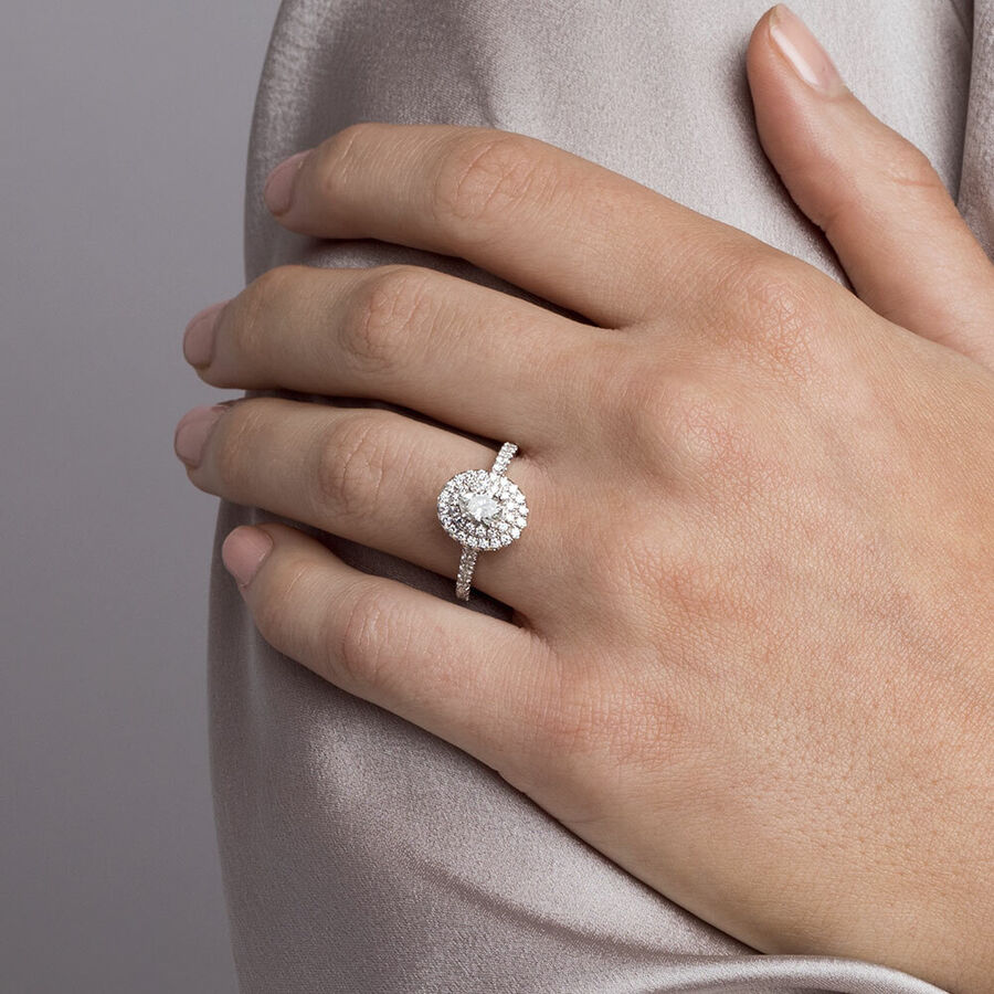 Sir Michael Hill Designer Engagement Ring with 1 1/5 Carat TW of Diamonds in 14ct White & Rose Gold