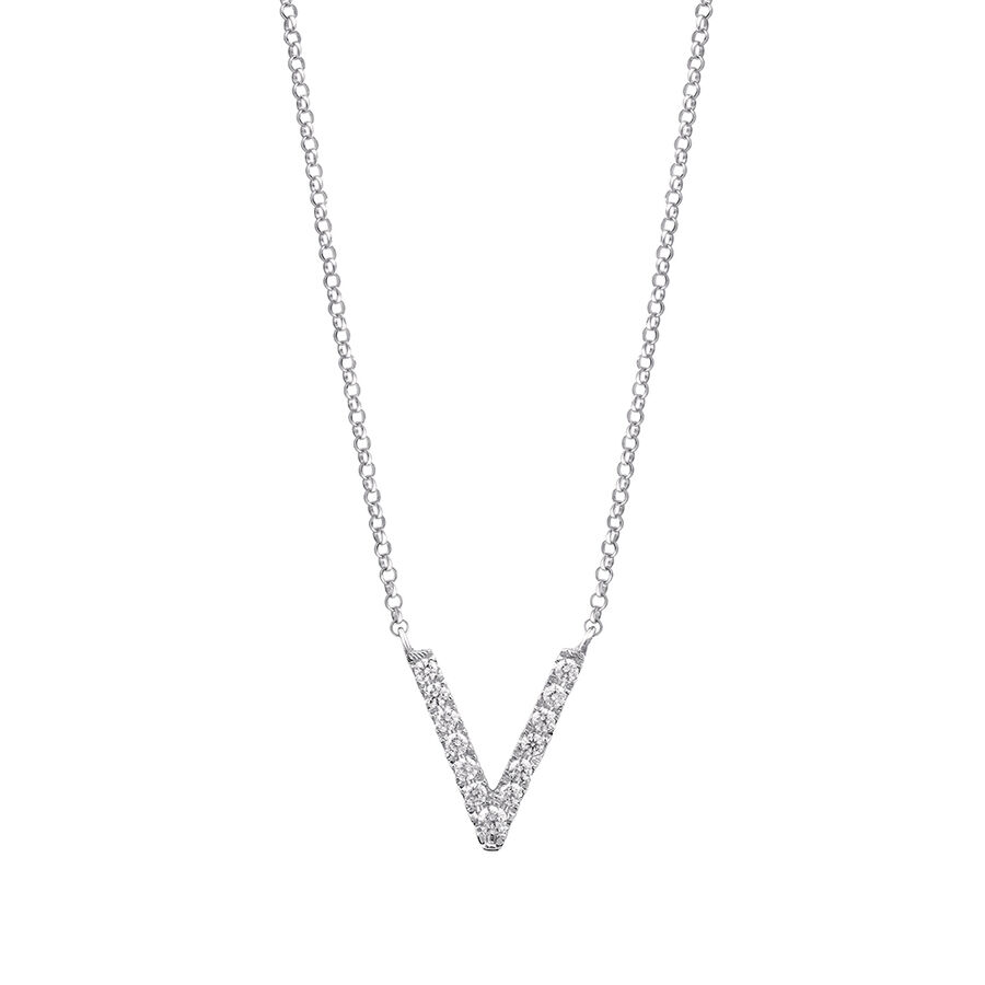"""""""V"""" Initial necklace with 0.10 Carat TW of Diamonds in 10ct White Gold"""