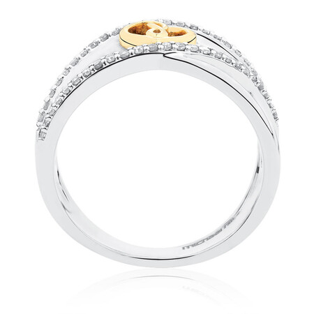 Infinitas Ring with 1/4 Carat TW of Diamonds in 10ct Yellow Gold & Sterling Silver