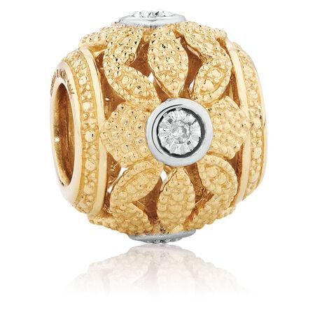 Diamond Set Art Deco Charm in 10ct Yellow Gold