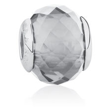 Online Exclusive - Grey Faceted Glass Charm in Sterling Silver