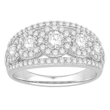 Cluster Ring with 1.50 Carat TW of Diamonds in 14ct White Gold