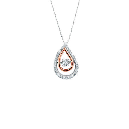 Everlight Pendant with 0.33 Carat TW of Diamonds in 10ct White & Rose Gold