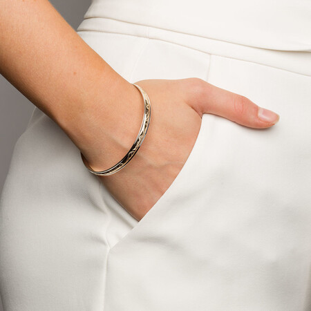 Bangle in 10ct Yellow Gold & Sterling Silver