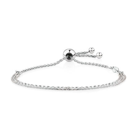 Triple Strand Adjustable Bracelet in Sterling Silver