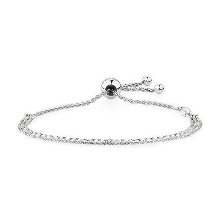 Triple Strand Adjustable Bracelet in Sterling Silver