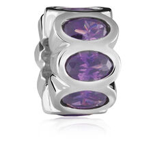 Purple Cubic Zirconia & Sterling Silver Charm