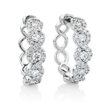 Huggie Earrings with 1 Carat TW of Diamonds in 14ct White Gold