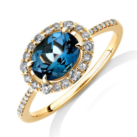 Natural Topaz Ring with 0.25 Carat TW of Diamonds in 10ct Yellow Gold