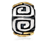 Patterned Charm in Sterling Silver & 10ct Yellow Gold