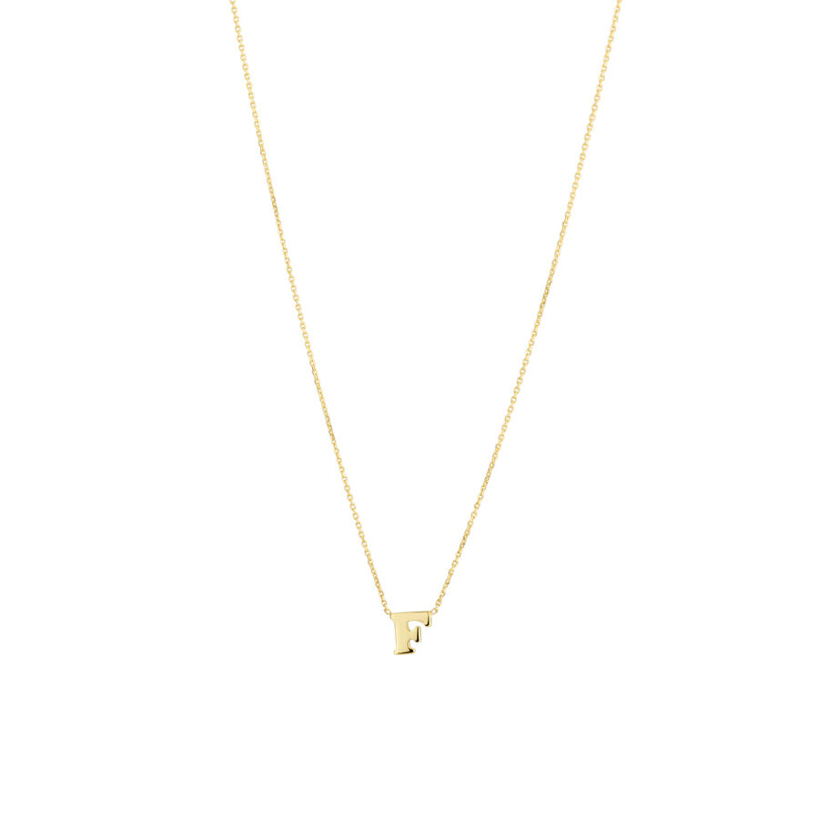 """""""F"""" Initial Necklace in 10ct Yellow Gold"""