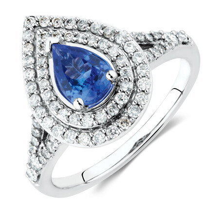 Ring with Tanzanite & 1/2 Carat TW of Diamonds in 10ct White Gold
