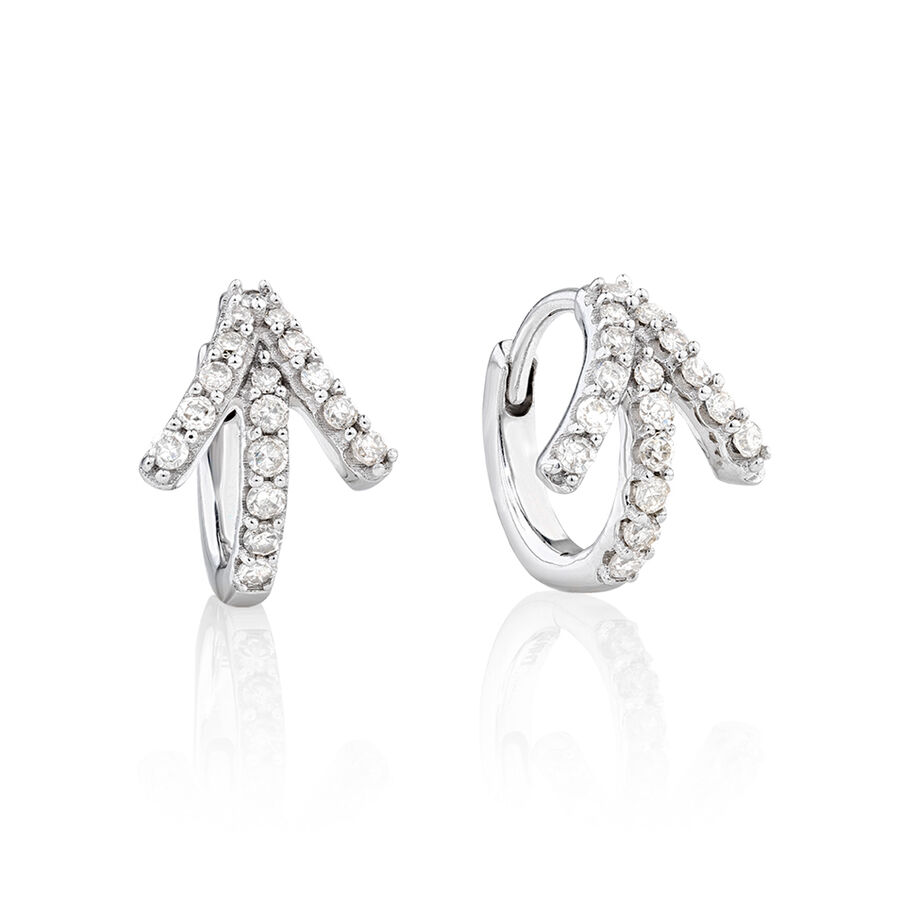 Mini Hoop Earrings with 0.20 Carat TW of Diamonds in 10ct White Gold