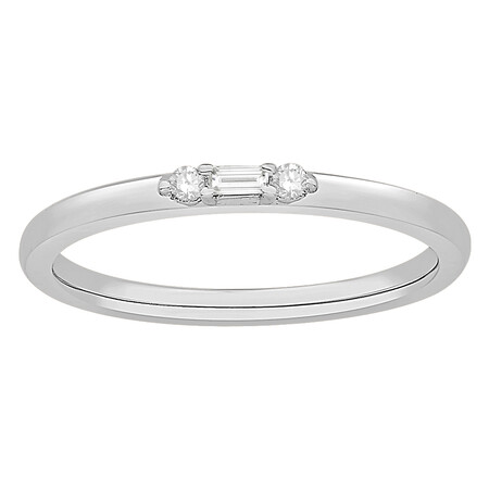 Stacker Ring with Diamonds in 10ct White Gold